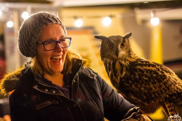Eurasian Eagle-Owl and Girl (Night Shot) by SIG442