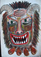 Mummer mask - painting, 1997 by toshko