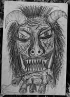 Mummer mask - drawing, 1997 by toshko