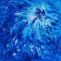 Blue Phoenix Flower Painting Ekaterina Chernova by EkaterinaChernova