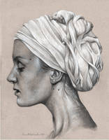 Woman with Turban Graphite Portrait by benke33