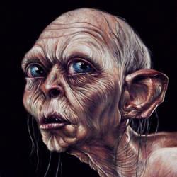 Gollum Painted Portrait by benke33