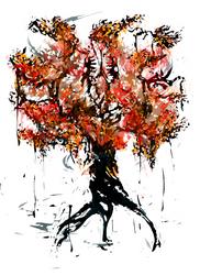 Yggdrasil and Nidhoggr by WadeSplat