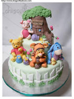 Baby Pooh and Friends Cake by dragonflydoces