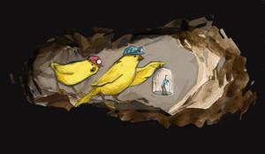 Canary caving by whiteflyinglizard