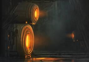 Science fiction city outskirts by Tryingtofly