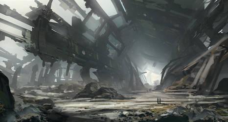 Spaceship Ruin speedpaint by Tryingtofly