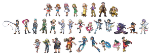 Trainer Battle Sprites by Kyle-Dove