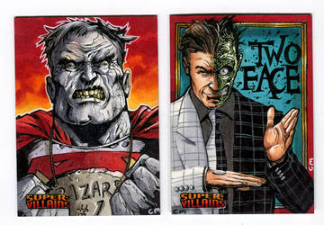 Villains sketch cards for DC comics card set by Kapow2003