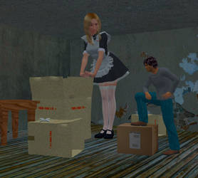 Giantess Maid and her guy. by Allogagan