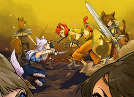 Battle of Canines and Felines by VanessaFardoe