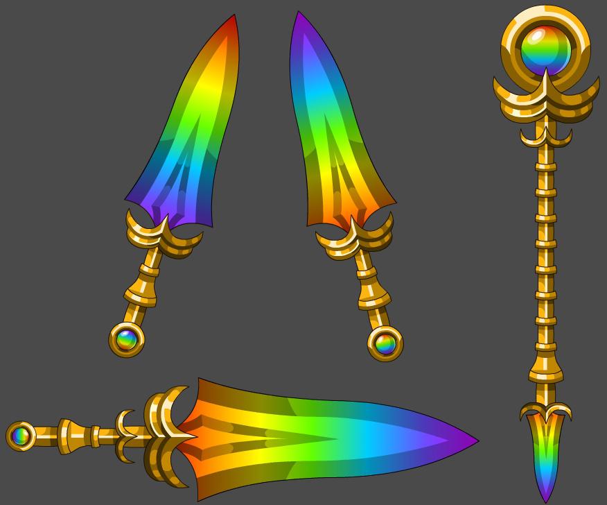 Brightening Rainbow Weapons Tier 2 by Occavatra