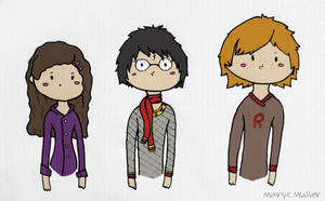 Harry, Ron and Hermione by MaryCMuller