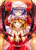 TOUHOU - Remilia and Flandre by 90i
