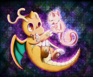 . : Dragonite and Mew : . by GenyStar