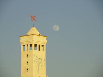 Sun clock tower and moon by BLA777