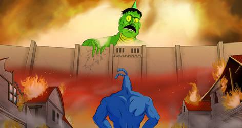 Attack on Dinosaur Neil by LeonardButtman