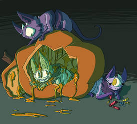 Halloween Cats by cr0wskull