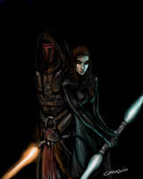 Revan and Bastilla by feedroh