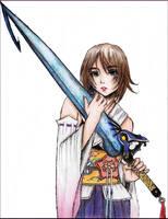 Yuna with Tidus' Sword by NoTickleElmo