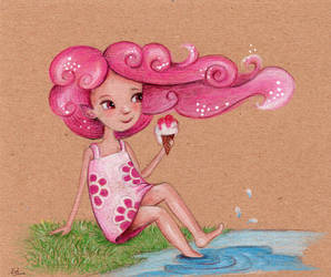 Little fairy with pink cloudy hair by isylia