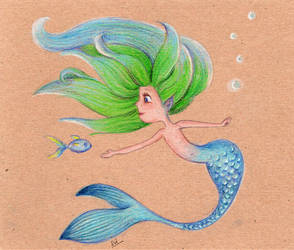 Little mermaid with green hair by isylia