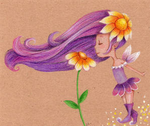 Liitle fairy with flower by isylia