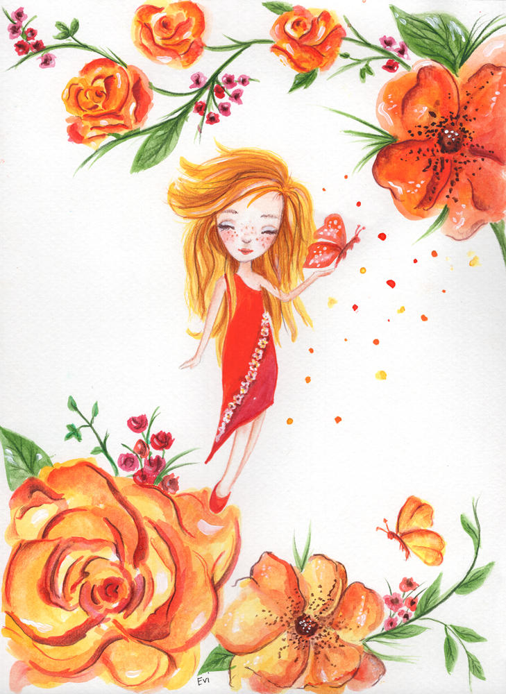 Tiny red fairy by isylia
