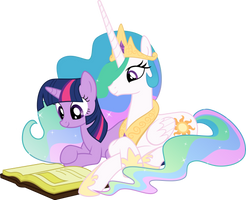 Twilight and Celestia Reading - Season 2 Poster by Takua770