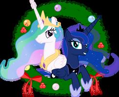 Celestia and Luna - Seasons Greetings by Takua770