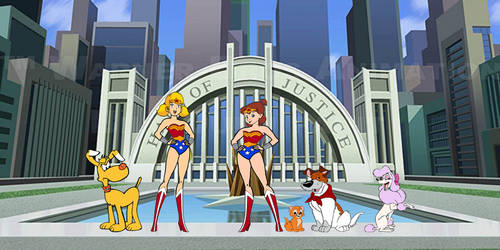 Penny and Jenny as young Wonder Woman by OptimusBroderick83