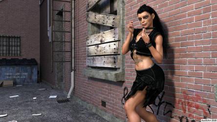 Rockergirl in the alley-02 by Gun3d