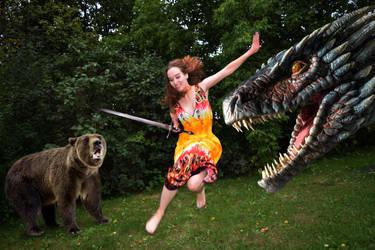 Bear/Dragon/Girl by SomeponyBrony