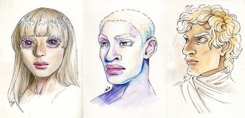 Workouts Portrait Watercolor: Albinos by RochaSketch