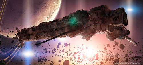 untitled sci-fi ship artwork by rOEN911