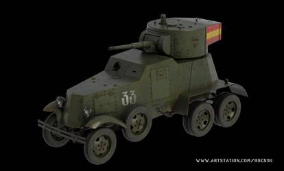 Ba-6 Soviet armored car 3d model by rOEN911