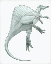 Spinosaurus underwater_original pencil sketch by PREHISTOPIA