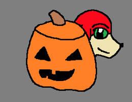 Knuckles and a Pumpkin by elijahtrevelyan