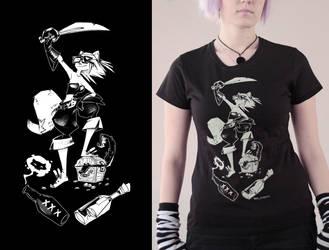 Pirat Black lady tshirt by Haidak