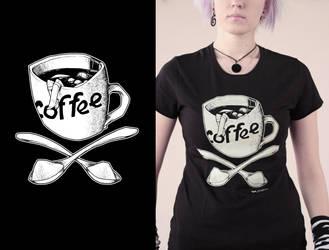 morning  black coffee tshirt by Haidak