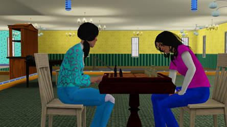 Sisters playing Chess by Sleepstar