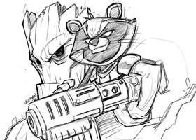 Rocket-and-Groot sketch by DerekLaufman