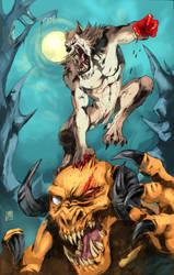 Werewolf vs Demon by R-Daza