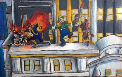 Battle on the city hall by Sugardragon15