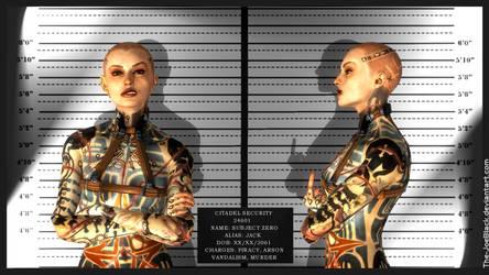 Mass Effect Mugshot - Jack / Subject Zero by ShaunsArtHouse