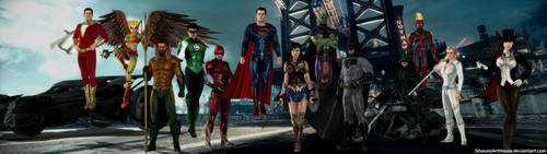 Justice League DCEU CW Dual Screen Wallpaper by ShaunsArtHouse