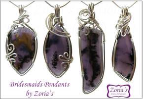 Pieces # 301-304 Bridesmaids Pendants by Zorias