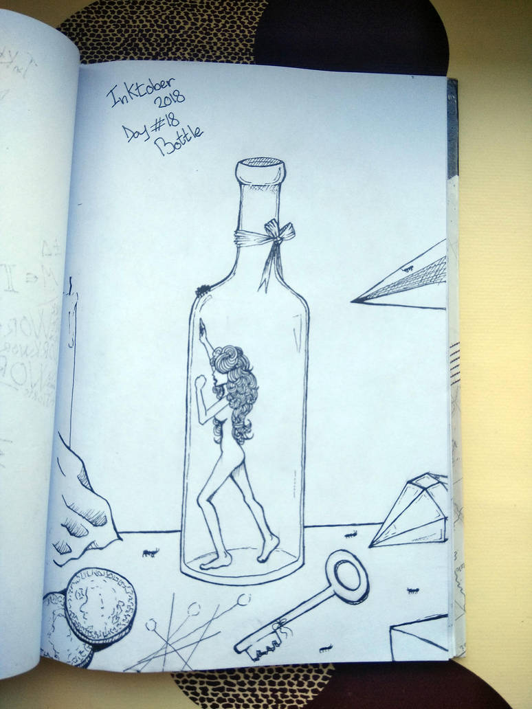 Inktober Day#18 Bottle by KarinMao