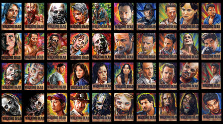 Walking Dead sketch cards by choffman36