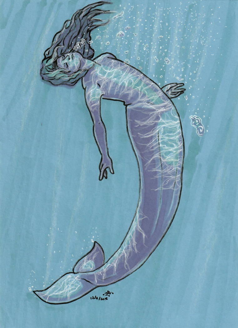 Mermaid On Blue Paper by MommaCabbit
